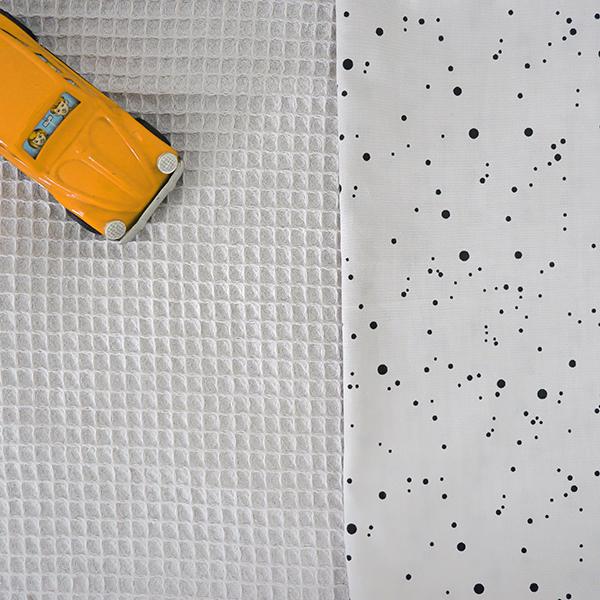 Ledikantdeken Confetti grijs_ANNIdesign_Wafelstof grijs