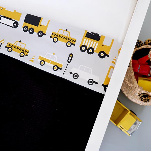 Ledikantdeken Voertuigen oker geel_Wafelstof zwart ANNIdesign 02