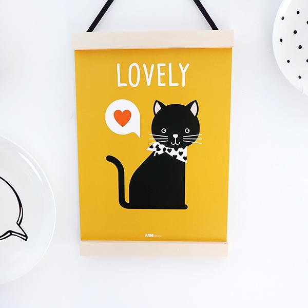 Poster Kittens Lovely oker geel ANNIdesign