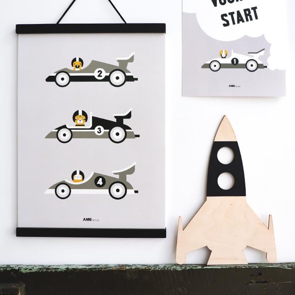 Poster Raceauto grijs ANNIdesign 01