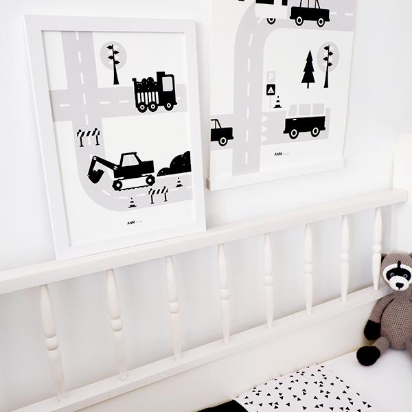 Poster Voertuigen Graafmachine zwart ANNIdesign 01