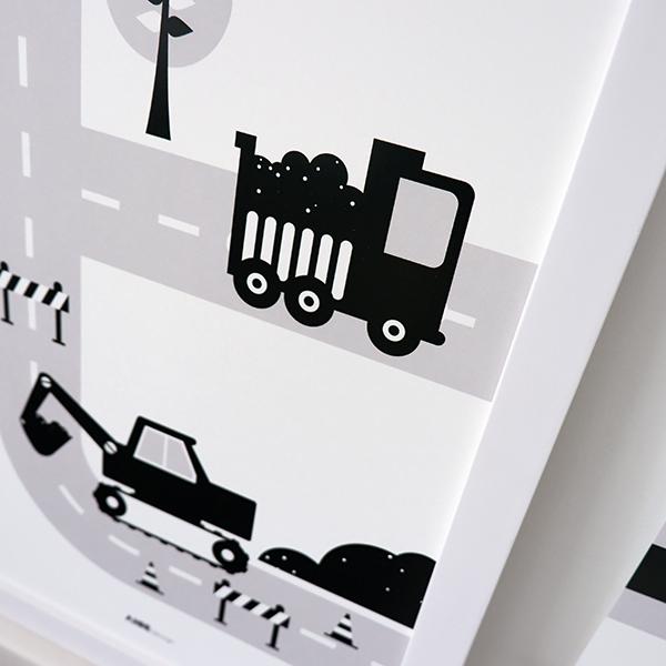 Poster Voertuigen Graafmachine zwart ANNIdesign 02