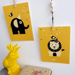 Poster set Feestbeesten Leeuw en Olifant oker geel ANNIdesign 01