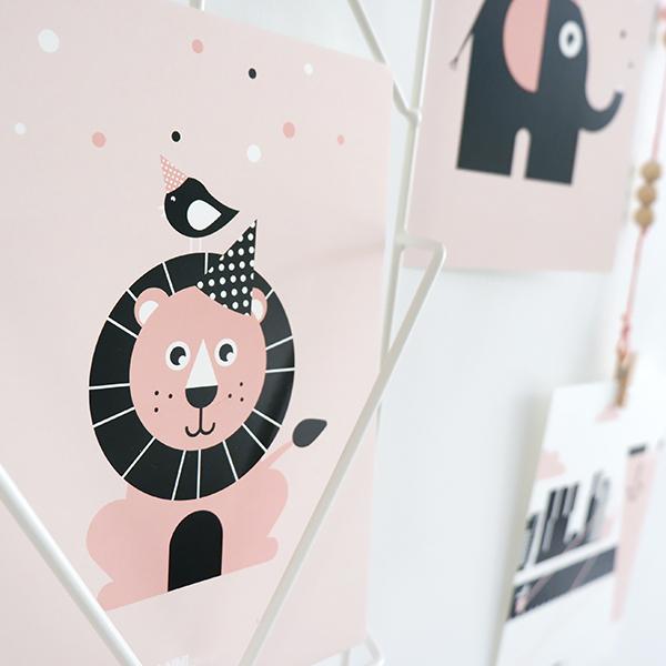 Poster set Feestbeesten Leeuw en Olifant oud roze ANNIdesign 02