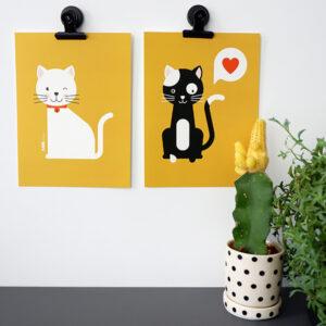 Poster set Katjes oker geel ANNIdesign 01