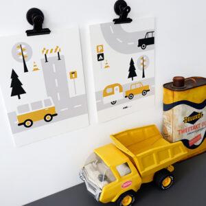 Poster set Voertuigen Caravan oker geel ANNIdesign 01