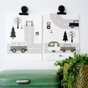 Poster set Voertuigen Caravan olijf groen ANNIdesign 01