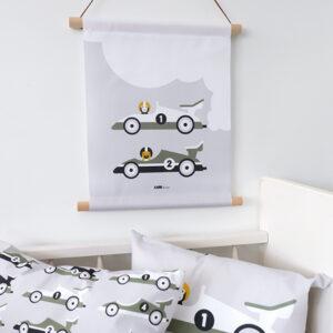 Textielposter Raceauto grijs ANNIdesign 01