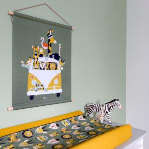 Textielposter Safari olijf groen ANNIdesign 03