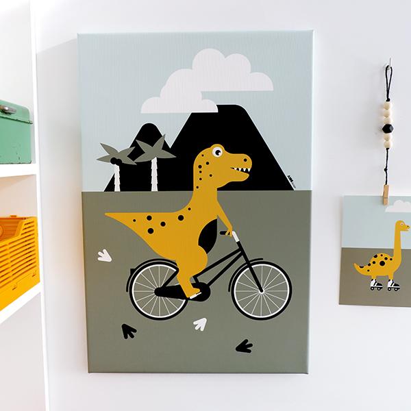 Canvas Dino op de Fiets 40x60 ANNIdesign 01