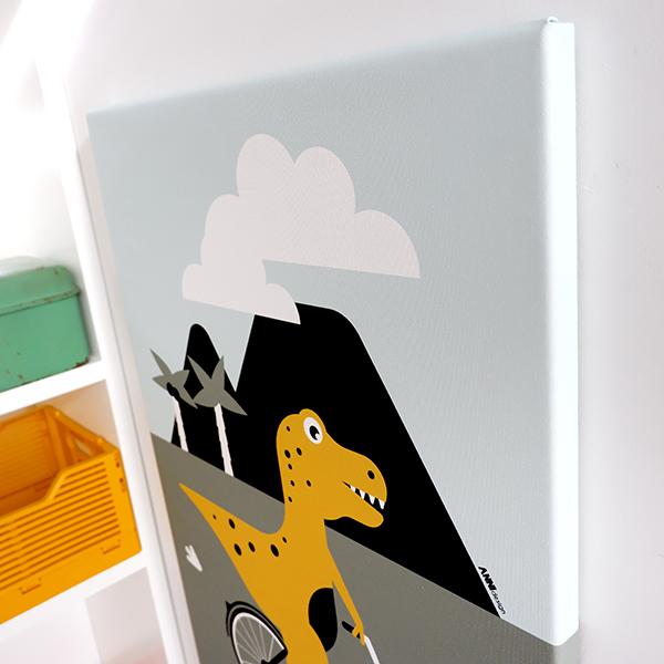 Canvas Dino op de Fiets 40x60 ANNIdesign 02