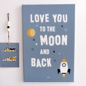 Canvas Raket Love moon jeans blauw 40x60 ANNIdesign 01