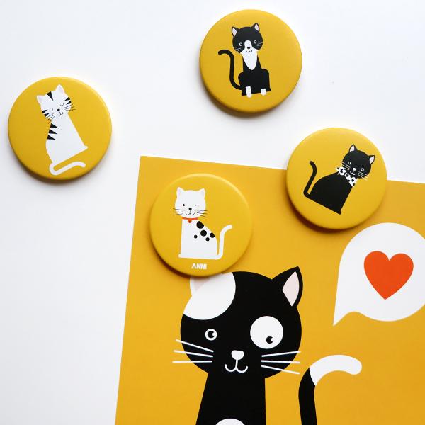 Magneet Kittens oker geel ANNIdesign 01