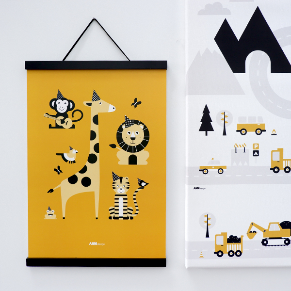 Poster Feestbeesten oker geel ANNIdesign 01