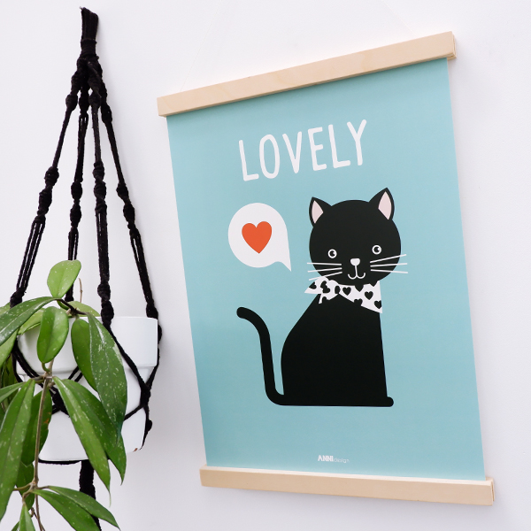 Poster Kitten Lovely blauw ANNIdesign 01
