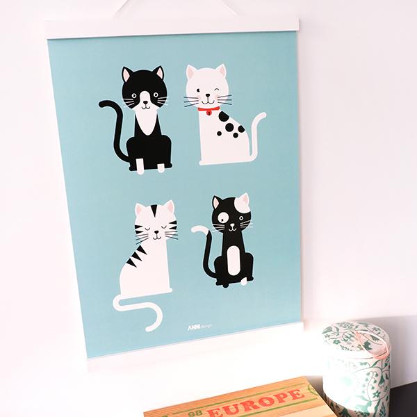 Poster Kittens blauw ANNIdesign 01