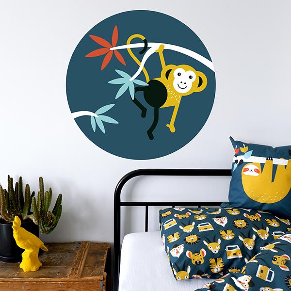 Behangcirkel Jungle aap donker blauw ANNIdesign 03