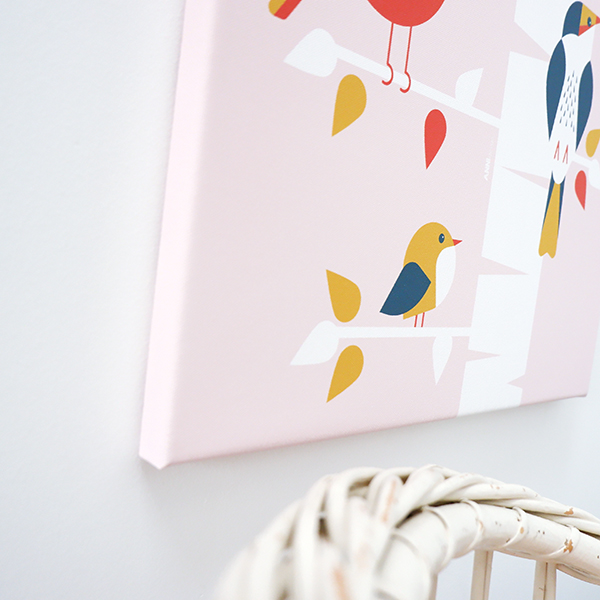 Canvas Vogels in boom oud roze 40x60 ANNIdesign 02