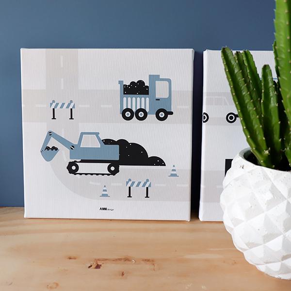 Canvas voertuigen Graafmachine 30x30 jeans blauw ANNIdesign 01