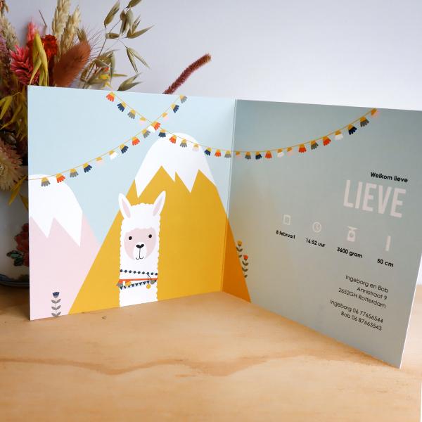 Geboortekaart Lama in de bergen ANNIdesign 02