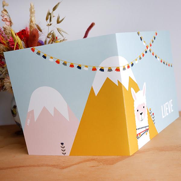 Geboortekaart Lama in de bergen ANNIdesign 03