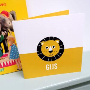 Geboortekaart Leeuw met oker geel ANNIdesign 01