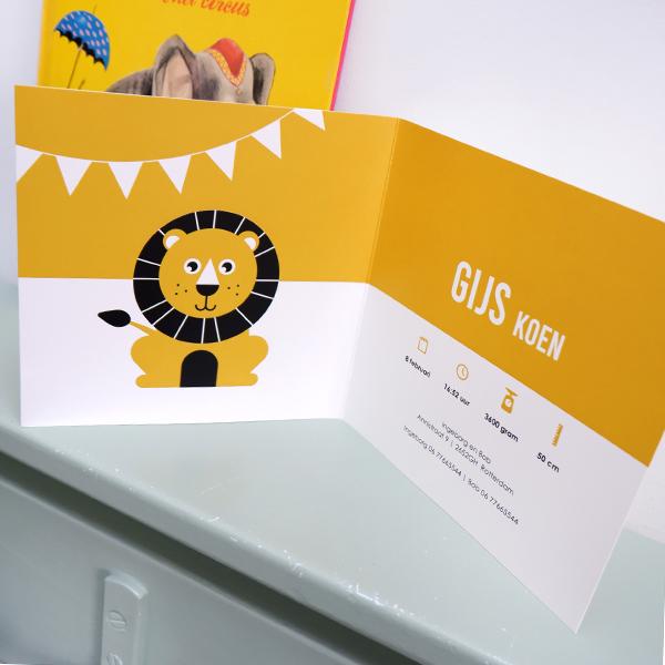 Geboortekaart Leeuw met oker geel ANNIdesign 02
