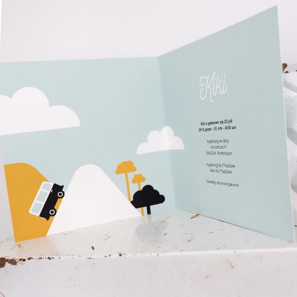 Geboortekaart Reis oker geel ANNIdesign 03