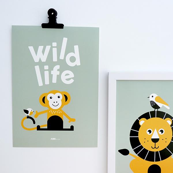 Poster Aap Wild life bleek groen ANNIdesign 01