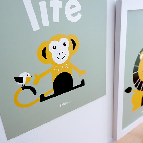 Poster Aap Wild life bleek groen ANNIdesign 02