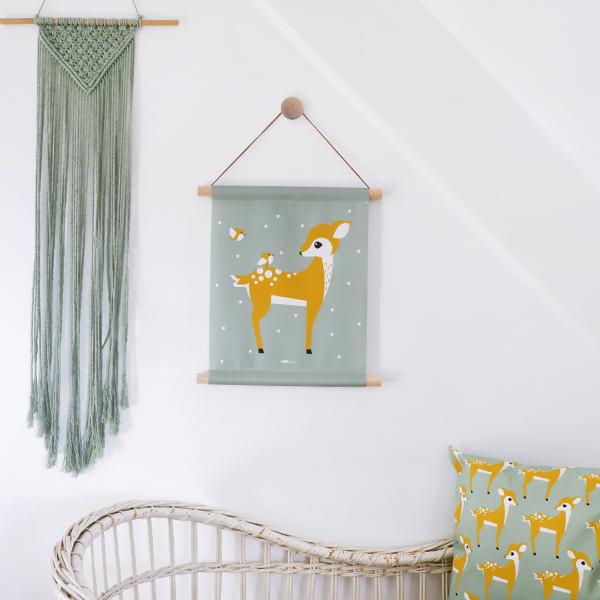 Textielposter Hertje bleekgroen ANNIdesign 01
