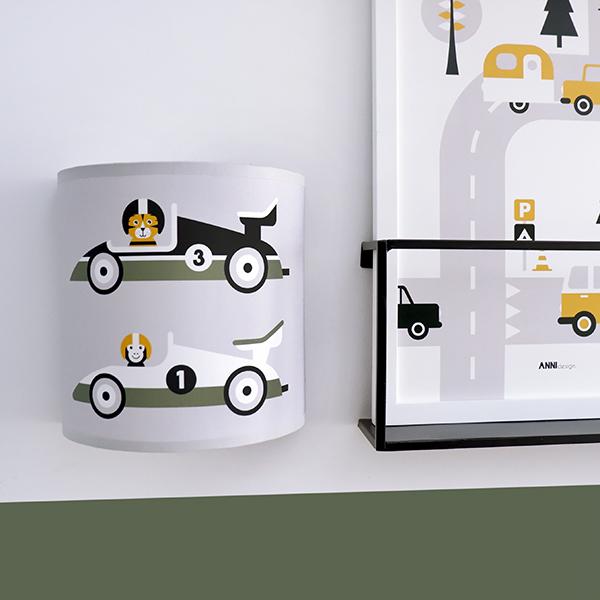 Wandlamp Raceauto grijs ANNIdesign 01