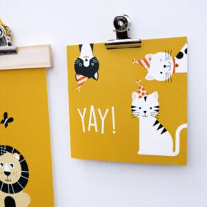 Wenskaart Kittens oker ANNIdesign 01