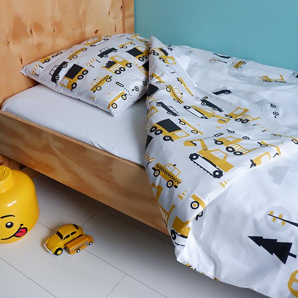 Junior kinder dekbedovertrek 120x150 Voertuigen oker geel 01
