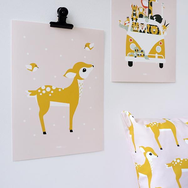 Poster Hertje oud roze ANNIdesign 01