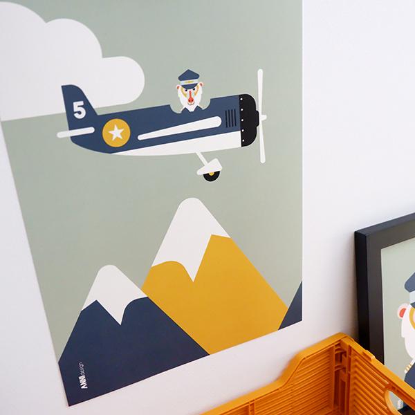 Poster Piloot baviaan Vliegtuig ANNIdesign 02