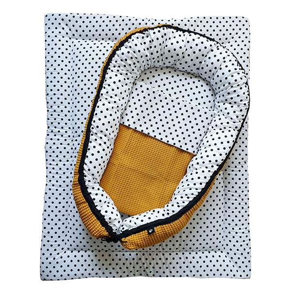 Babynestje & Boxkleed Stip op wit Wafelstof oker ANNIdesign