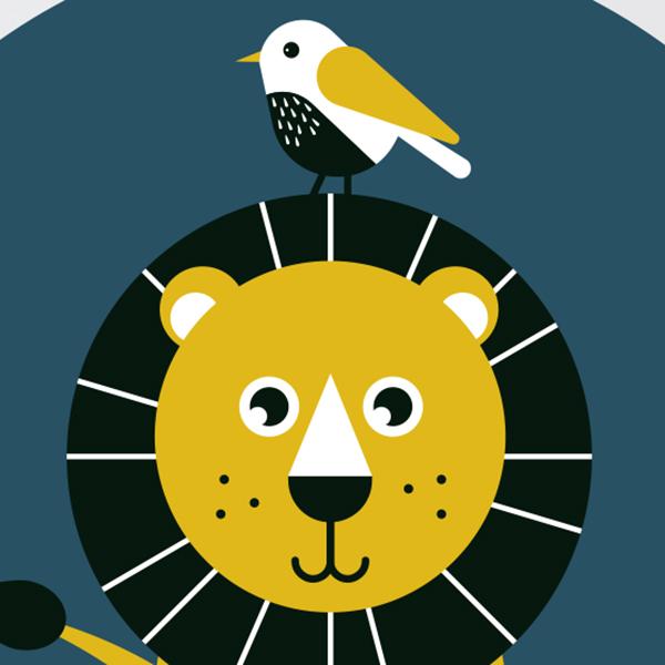 Behangcirkel Wild Life Leeuw ANNIdesign 02