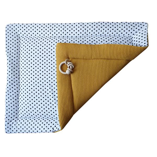 Boxkleed Stip op wit Wafelstof oker geel ANNIdesign S02