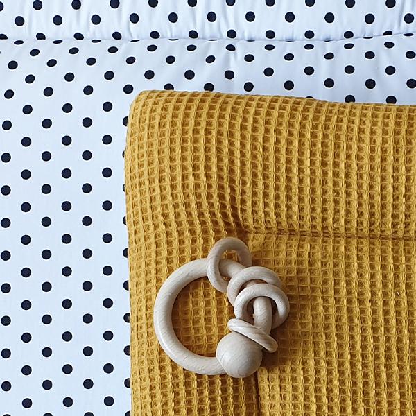 Boxkleed Stip op wit Wafelstof oker geel ANNIdesign S03