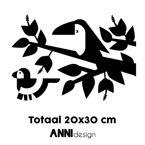 Muursticker Toekan en Papegaai ANNIdesign 02