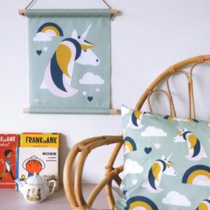 Textielposter Eenhoorn bleek groen ANNIdesign 01