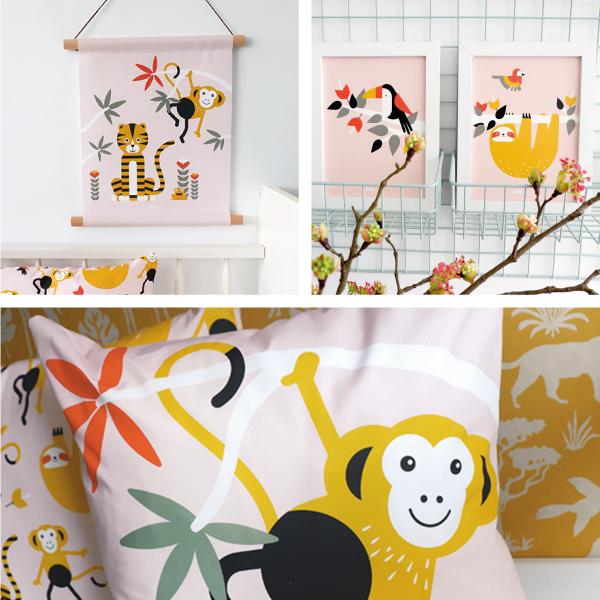 Jungle oud roze ANNIdesign SET 1