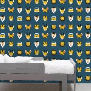 Kinderbehang Safari patroon ANNIdesign donker blauw 01