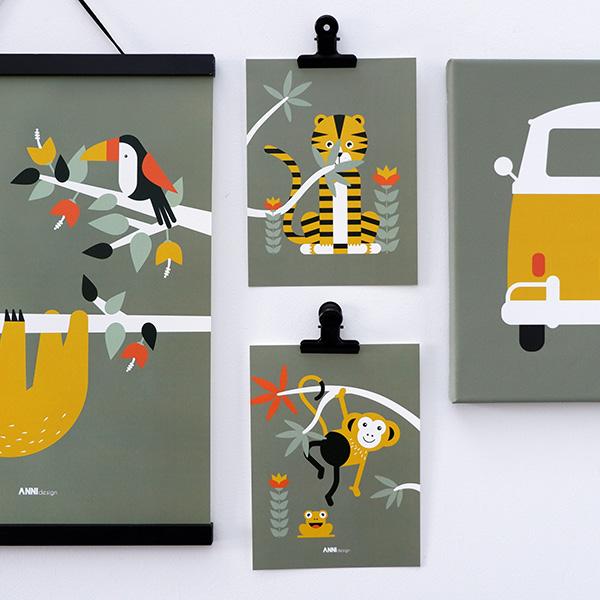 Poster set Jungle Tijger en Aap olijf groen ANNIdesign 01