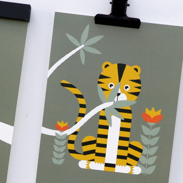 Poster set Jungle Tijger en Aap olijf groen ANNIdesign 02