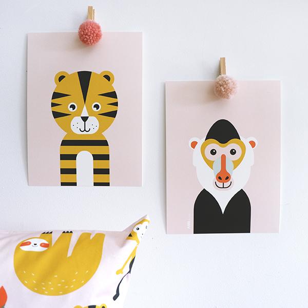 Poster set Safari Baviaan en Tijger oud roze ANNIdesign 01.jpg