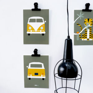 Poster set Safari busje olijf groen ANNIdesign 01