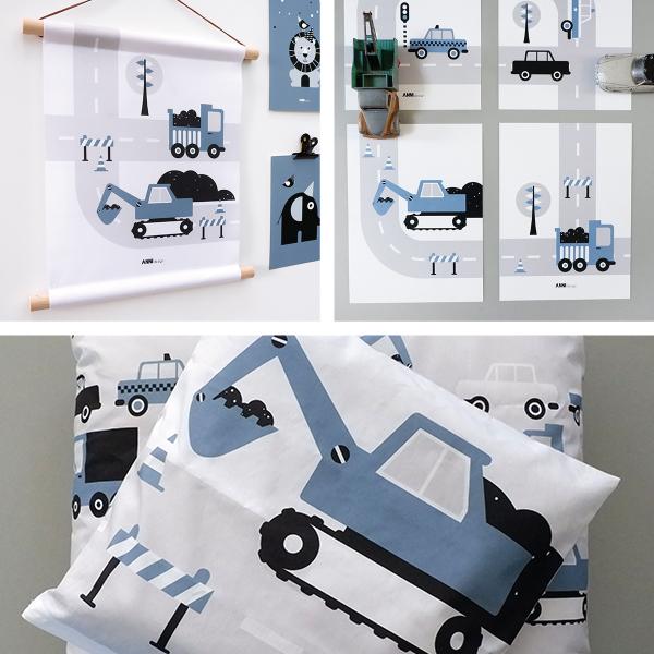 Voertuigen Graafmachine jeans blauw ANNIdesign SET 1