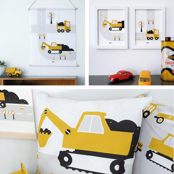 Voertuigen Graafmachine oker geel ANNIdesign SET 1